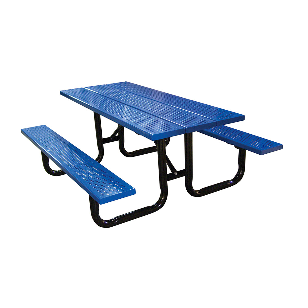 8u0027 Steel Plank Surface Mount Picnic Table
